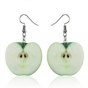 Green Apple Fruit Dangle Drop Hook Earrings